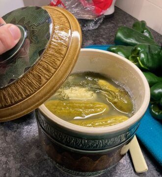 photo of ceramic fermentation crock with pickles